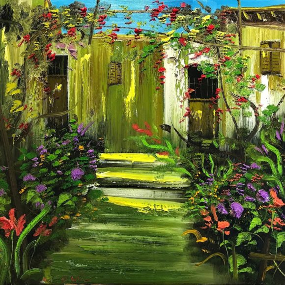 Backyard Garden, 120/150cm Oil on Canvas - Ruth Gallery - Galerie d'Art Luxembourg - Art Gallery Luxembourg