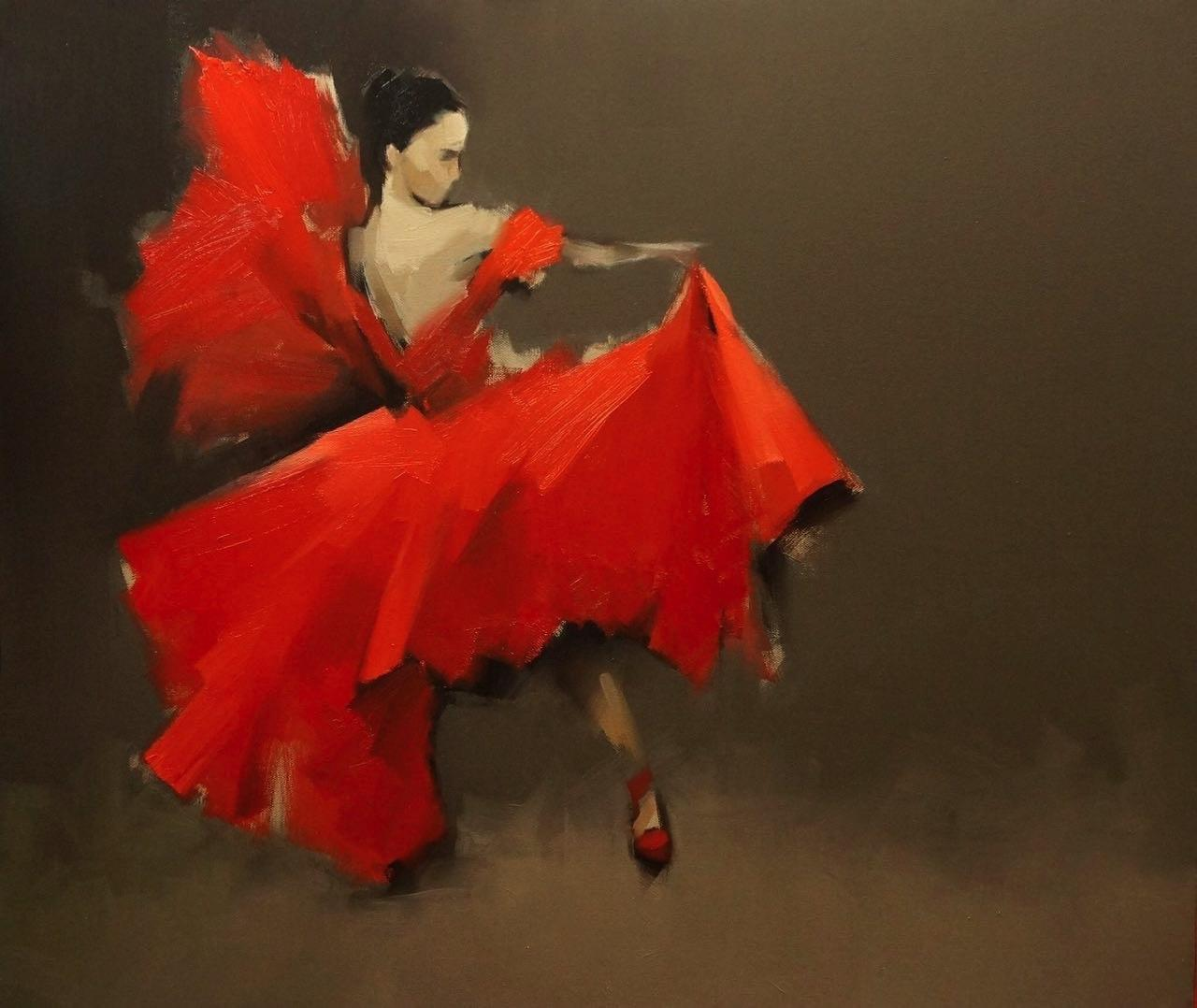 Dancer 1, 80/95cm, Oil on Canvas - Ruth Gallery - Galerie d'Art Luxembourg - Art Gallery Luxembourg