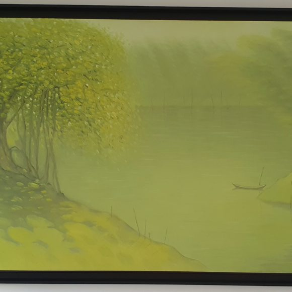 House of the river Green 80x180 cm - Bui Van Hoan- Art in Luxembourg