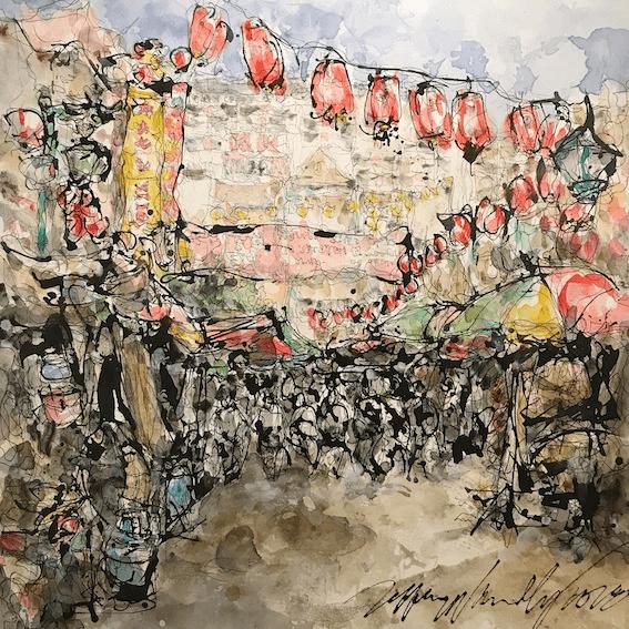 Chinatown Kuala Lumpur 100x100 cm, Acrylic on canvas - Jeffrey Wandley - Art Luxembourg - Lova Ruth Galerie