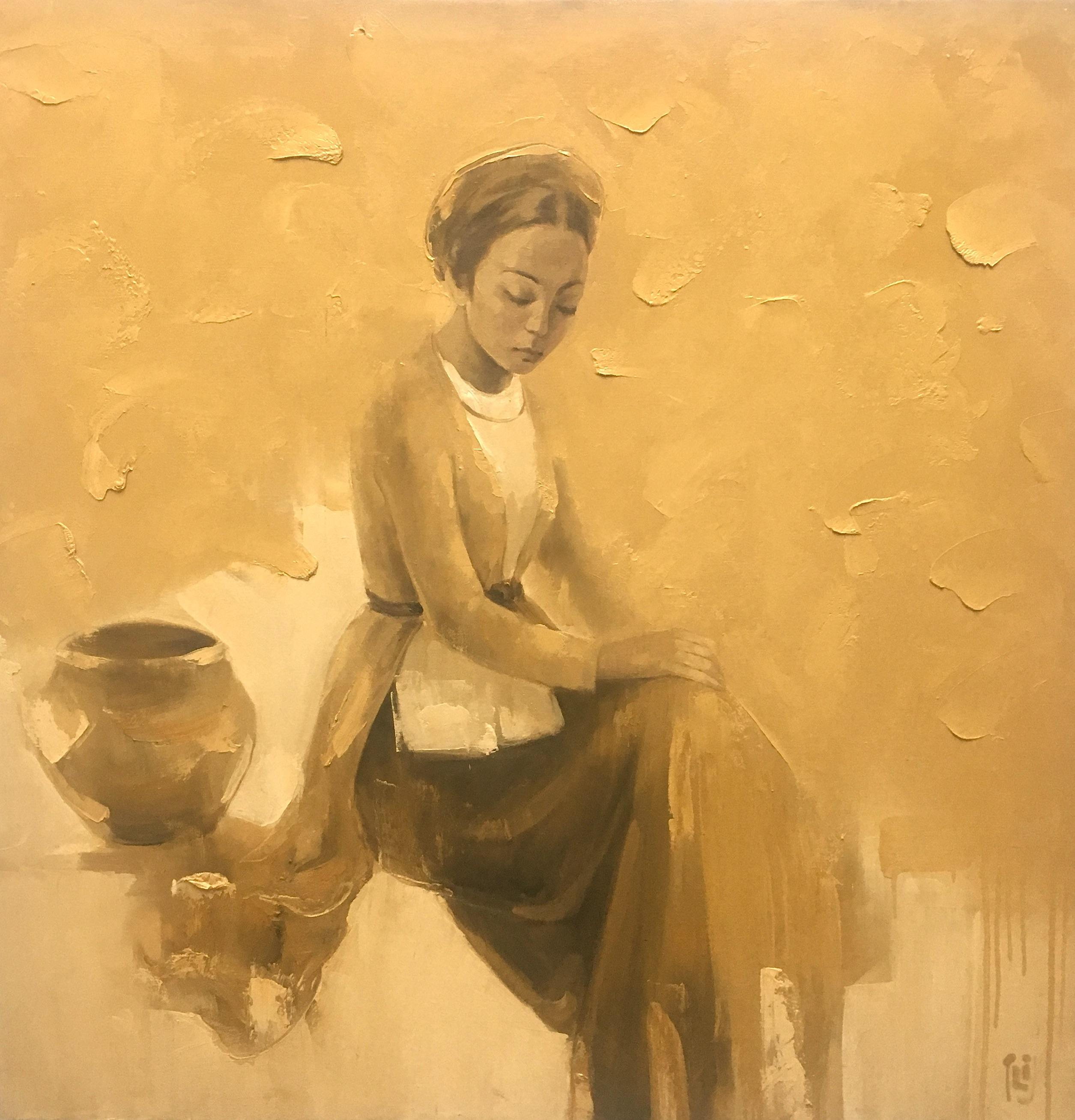 Lady - 120x120 cm - Oil on canvas - Phuong Quoc Tri - Luxembourg Art