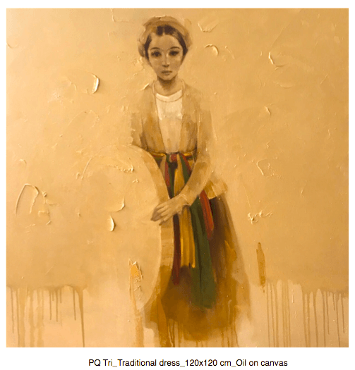 Tri Traditional dress - 120x120 cm - Phuong Quoc Tri - Luxembourg Art